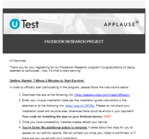 Facebook Research App First Mail